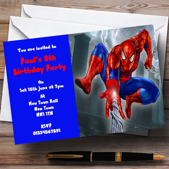 Spiderman Web Personalised Children's Party Invitations