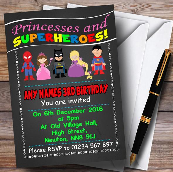Chalk Princess & Superhero Children's Birthday Party Invitations