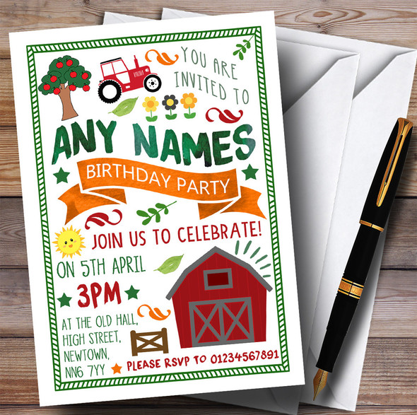 Country Farm Tractor Children's Birthday Party Invitations