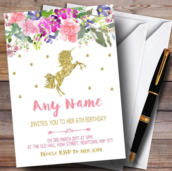 Floral Gold Unicorn Children's Birthday Party Invitations