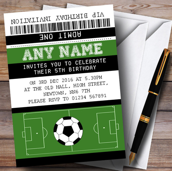 Football Soccer Match Ticket Children's Birthday Party Invitations