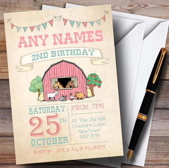 Girls Farm Animals Children's Birthday Party Invitations