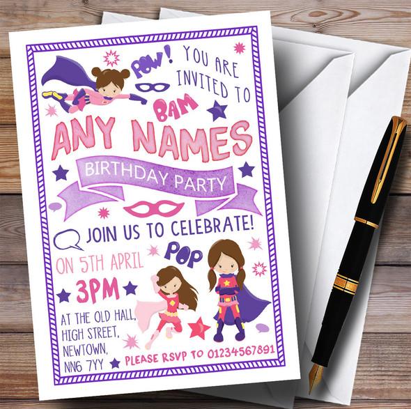 Girls Superhero Children's Birthday Party Invitations