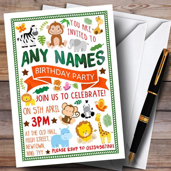 Jungle Animals Children's Birthday Party Invitations