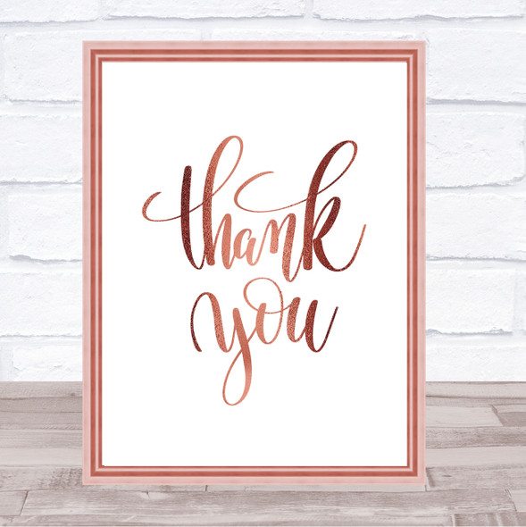 Thank You Swirl Quote Print Poster Rose Gold Wall Art