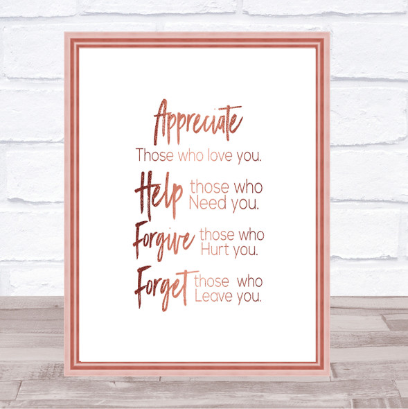 Those Who Love You Quote Print Poster Rose Gold Wall Art