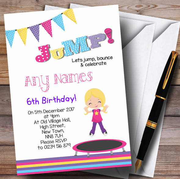 Blonde Girl Trampoline Children's Birthday Party Invitations