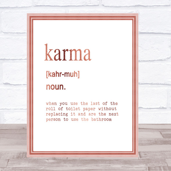 Word Definition Karma Quote Print Poster Rose Gold Wall Art