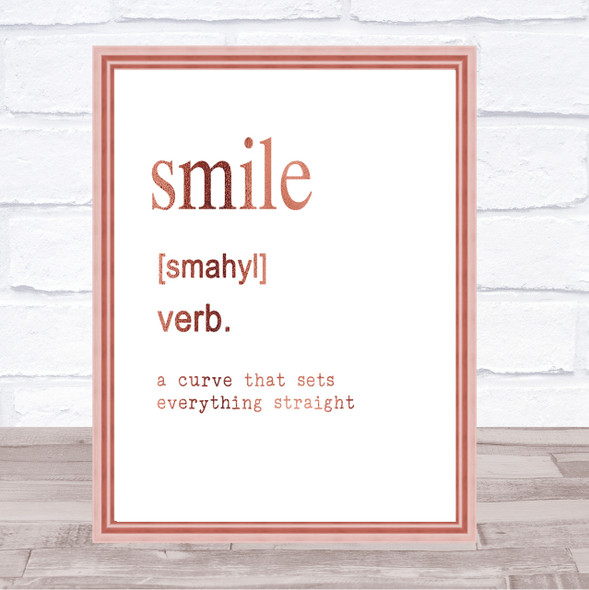Word Definition Smile Quote Print Poster Rose Gold Wall Art