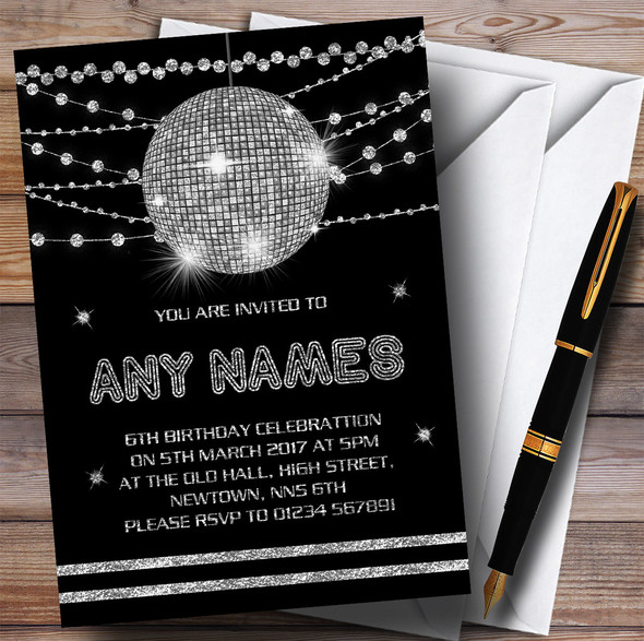 Silver Disco Ball Invitations Children's Birthday Party Invitations