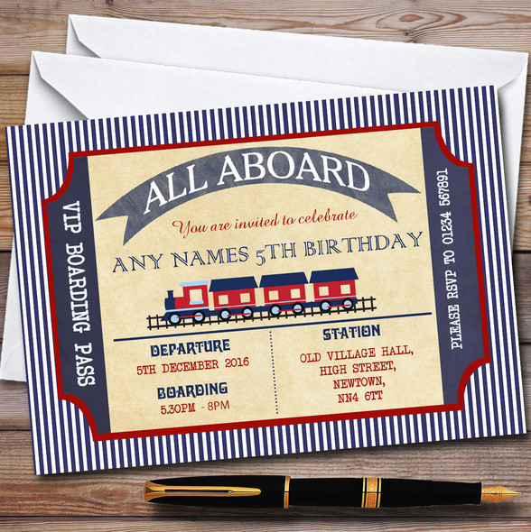Blue & Red Boarding Pass Train Children's Birthday Party Invitations