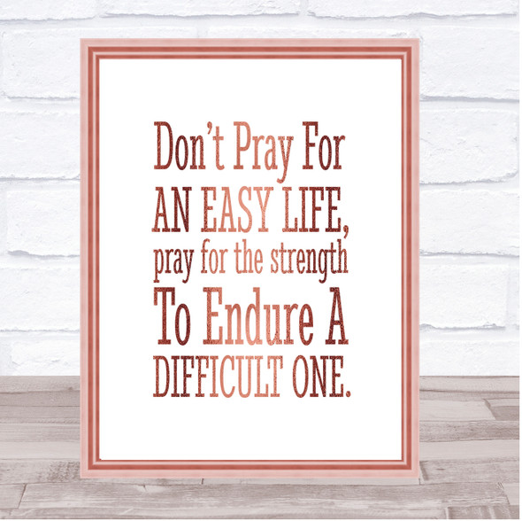 Don't Pray Quote Print Poster Rose Gold Wall Art