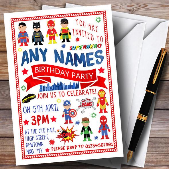 Superhero Comic Children's Birthday Party Invitations