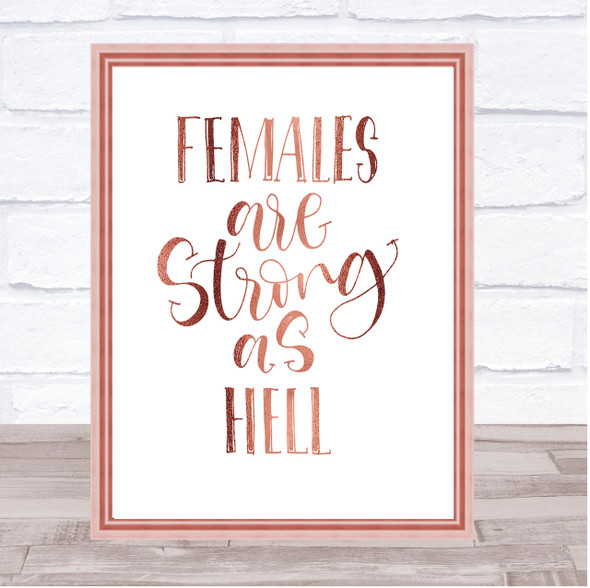 Female Strong As Hell Quote Print Poster Rose Gold Wall Art