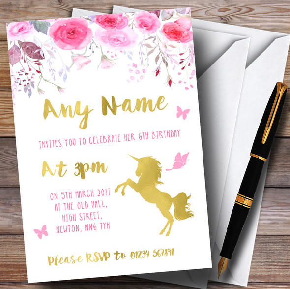 Watercolour Pink Gold Floral Unicorn Children's Birthday Party Invitations