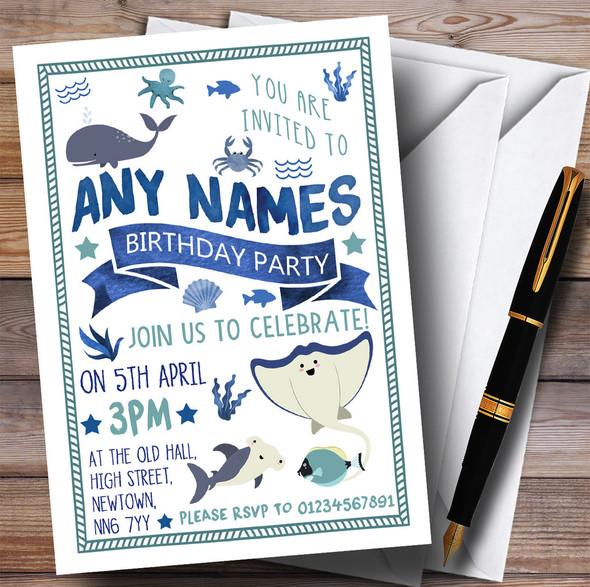 Whale Shark Fish Ocean Under The Sea Children's Birthday Party Invitations