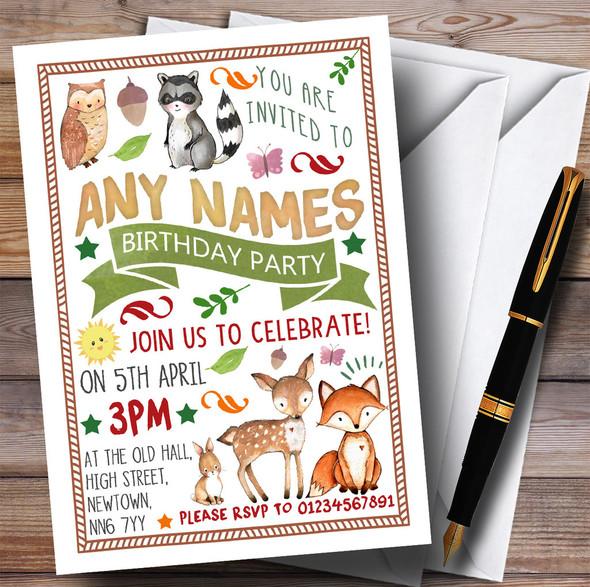 Woodland Animals Forest Children's Birthday Party Invitations