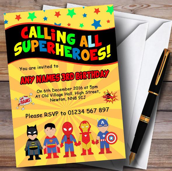 Yellow Superhero Children's Birthday Party Invitations