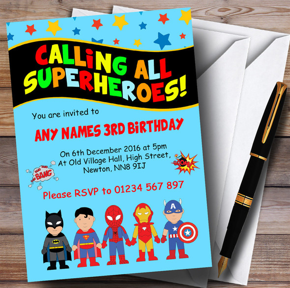 Blue Superhero Children's Birthday Party Invitations