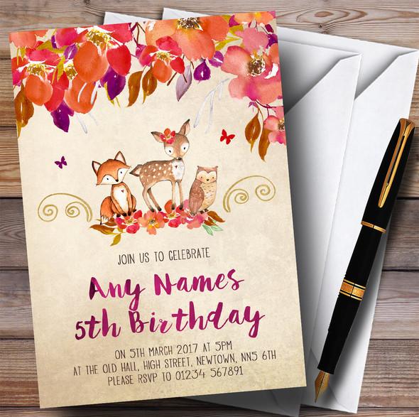 Bright Floral Woodland Forest Animals Fox Children's Birthday Party Invitations