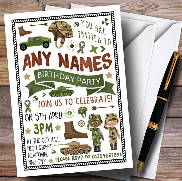 Camouflage Army Soldier Children's Birthday Party Invitations