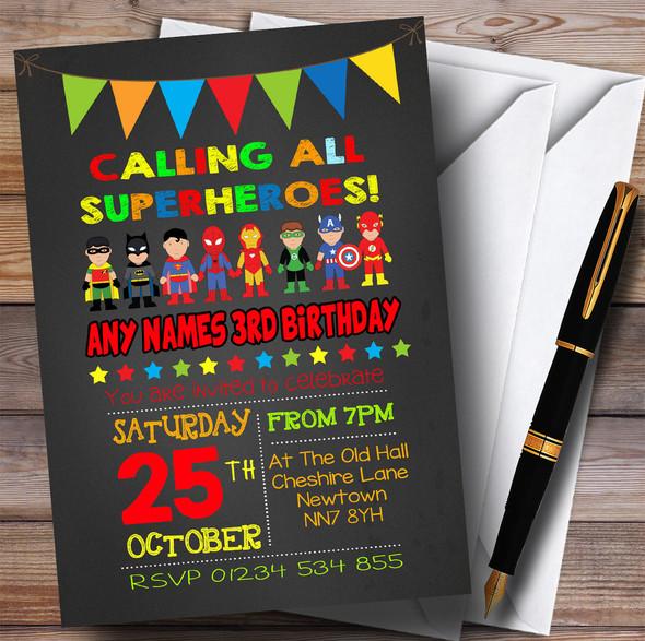 Chalk Bunting Superhero Children's Birthday Party Invitations