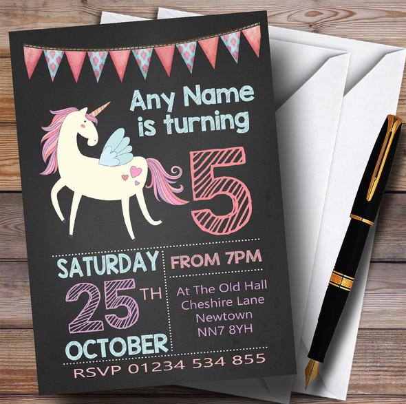 Chalk Bunting Unicorn Children's Birthday Party Invitations