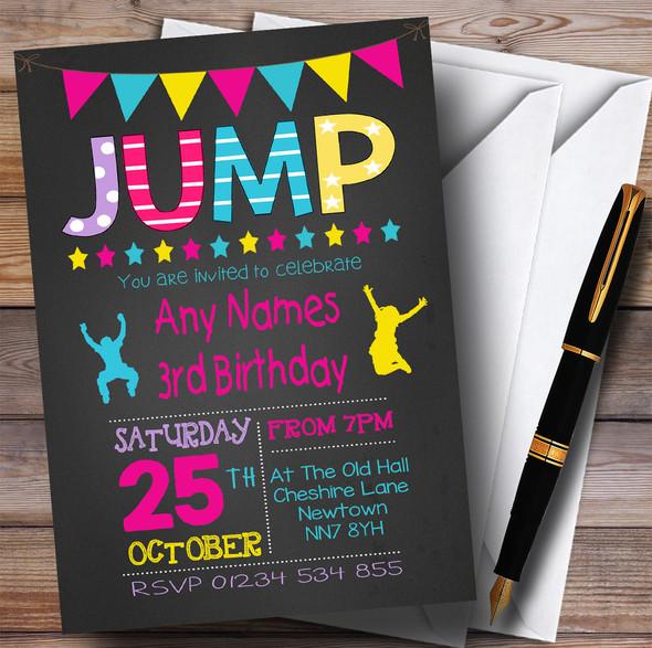 Chalk Girls Jump Trampoline Children's Birthday Party Invitations