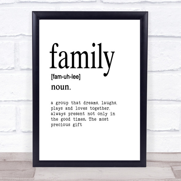 Word Definition Family Quote Print Poster Typography Word Art Picture