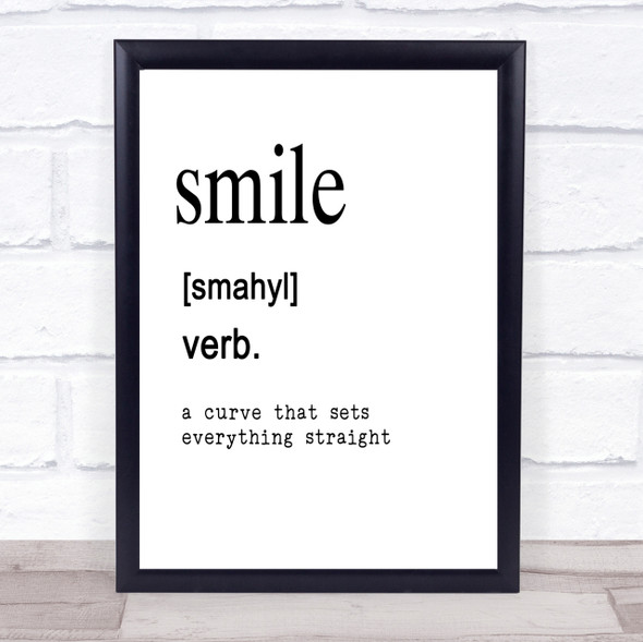 Word Definition Smile Quote Print Poster Typography Word Art Picture