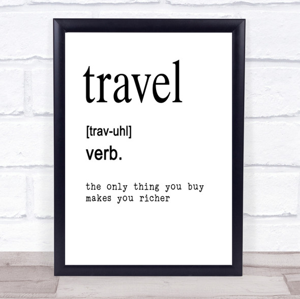 Word Definition Travel Quote Print Poster Typography Word Art Picture