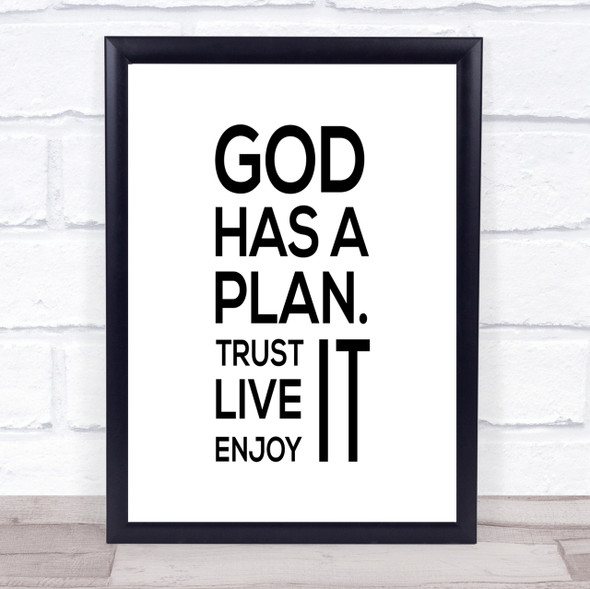 God Has A Plan Quote Print Poster Typography Word Art Picture