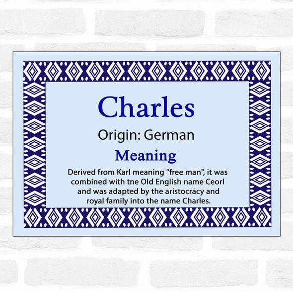 Charles Name Meaning Blue Certificate
