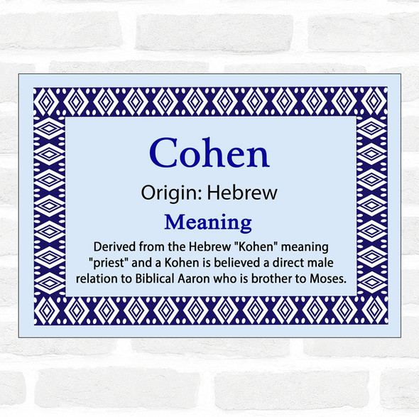 Cohen Name Meaning Blue Certificate