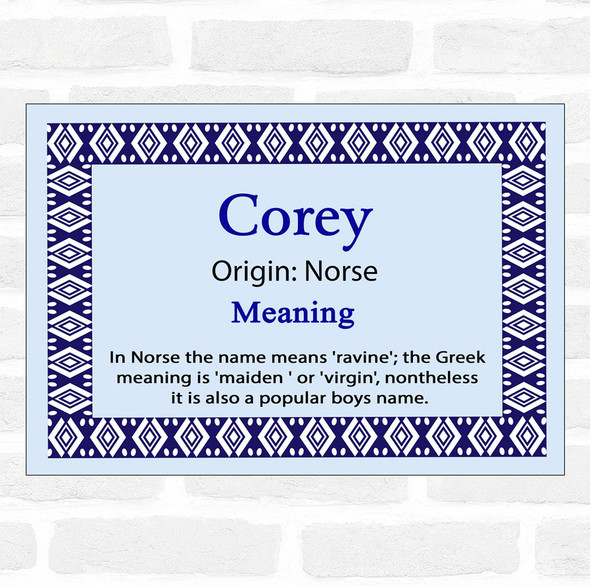 Corey Name Meaning Blue Certificate