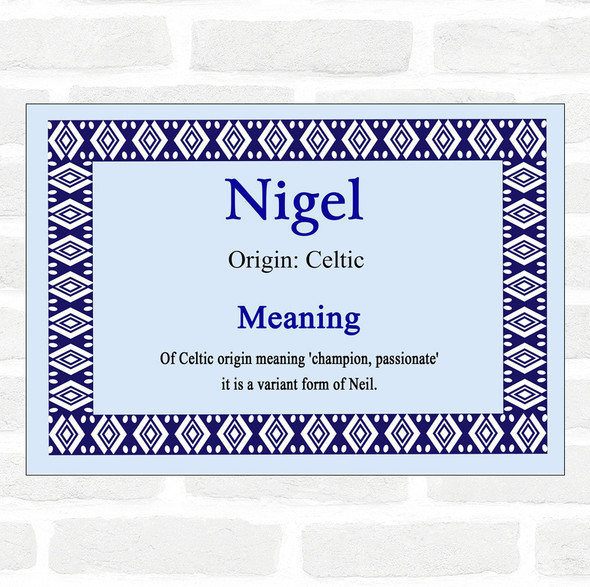 Nigel Name Meaning Blue Certificate