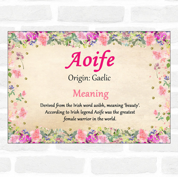 Aoife Name Meaning Floral Certificate