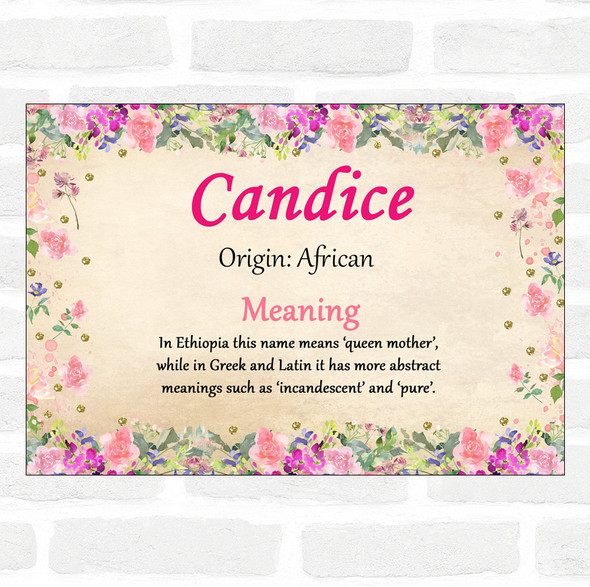 Candice Name Meaning Floral Certificate