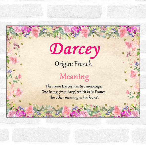 Darcey Name Meaning Floral Certificate