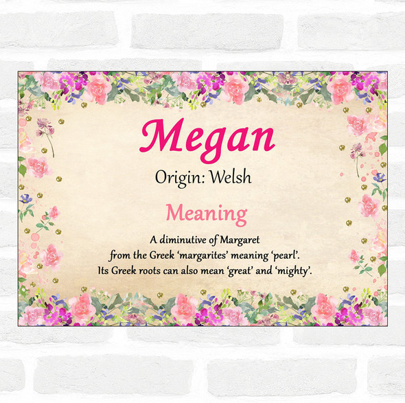 Megan Name Meaning Floral Certificate