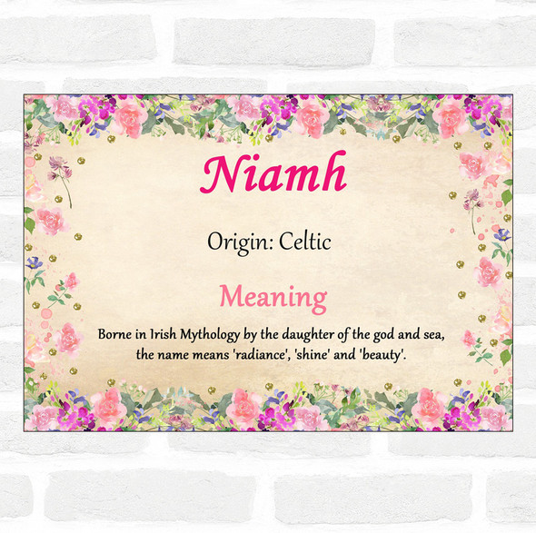 niamh Name Meaning Floral Certificate
