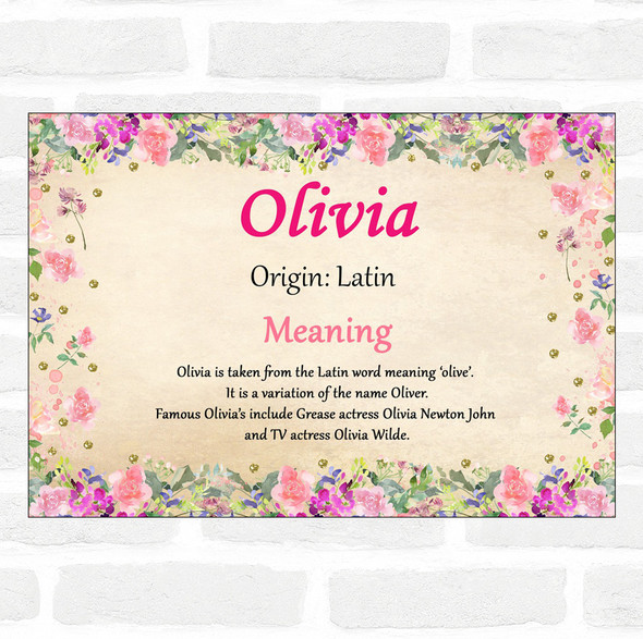 Olivia Name Meaning Floral Certificate