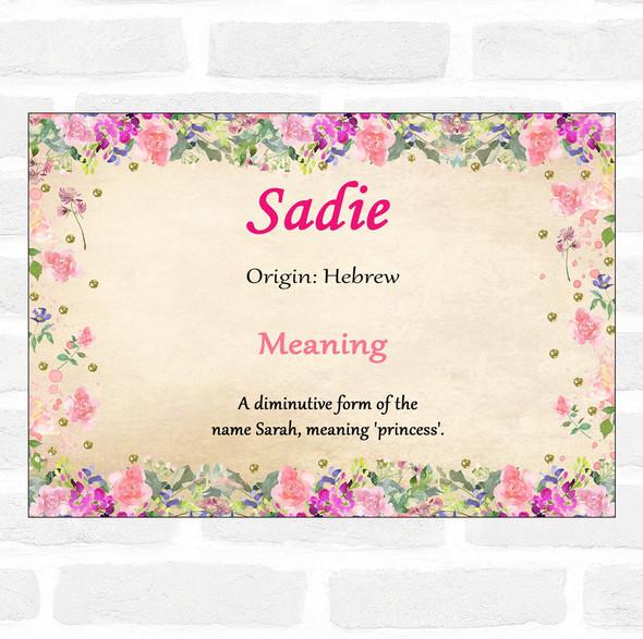 Sadie Name Meaning Floral Certificate