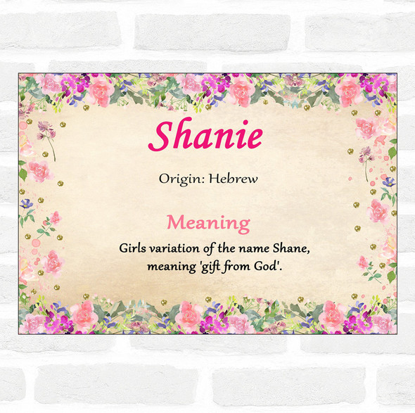 Shanie Name Meaning Floral Certificate
