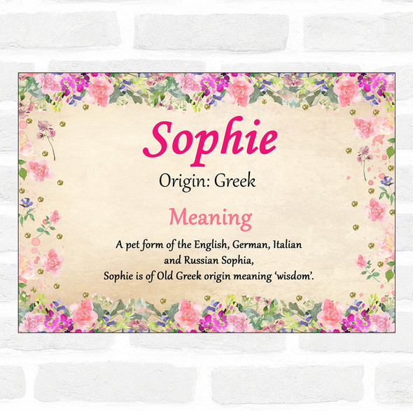 Sophie Name Meaning Floral Certificate