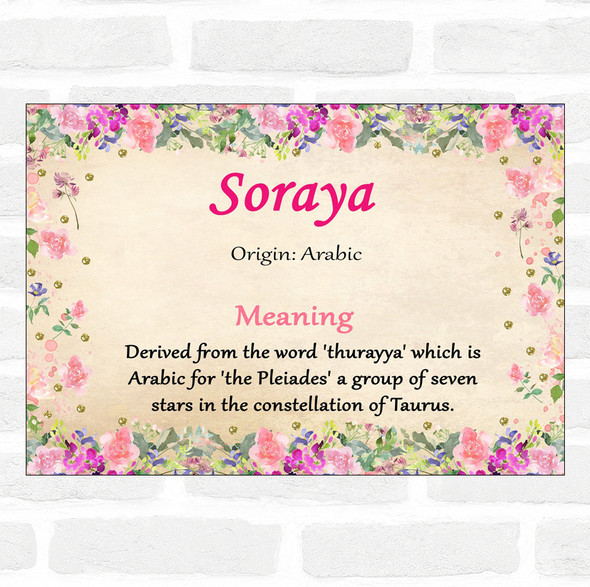 Soraya Name Meaning Floral Certificate