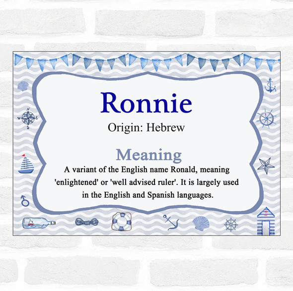 Ronnie Name Meaning Nautical Certificate