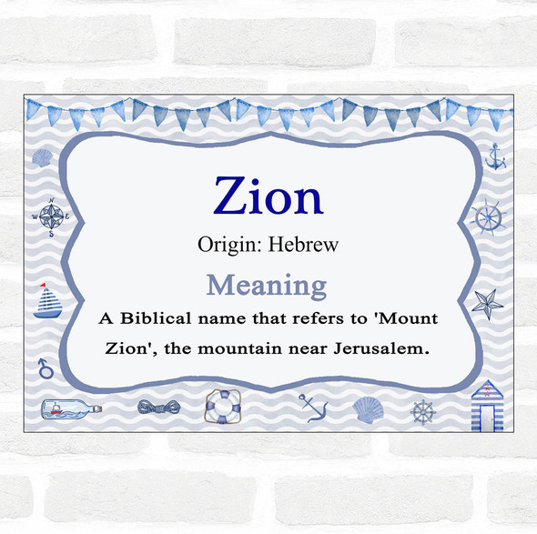 Zion Name Meaning Nautical Certificate
