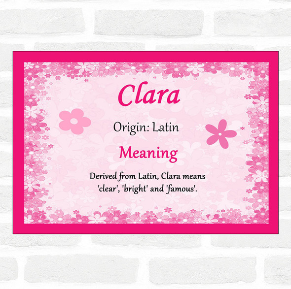 Clara Name Meaning Pink Certificate