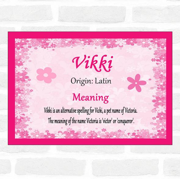 Vikki Name Meaning Pink Certificate